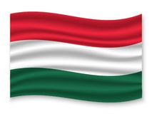 3D Waving Flag  . Vector illustration. 3D Waving Flag of Hungary . Template for your design stock illustration