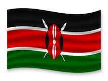 3D Waving Flag  . Vector illustration. 3D Waving Flag of Kenya . Template for your design vector illustration