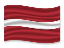 3D Waving Flag  . Vector illustration. 3D Waving Flag of Latvia . Template for your design royalty free illustration