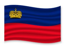 3D Waving Flag  . Vector illustration. 3D Waving Flag of Liechtenstein . Template for your design vector illustration