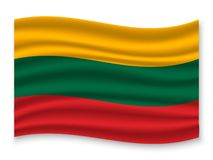 3D Waving Flag  . Vector illustration. 3D Waving Flag of Lithuania . Template for your design vector illustration