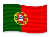 3D Waving Flag  . Vector illustration. 3D Waving Flag of Portugal . Template for your design vector illustration