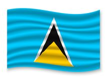 3D Waving Flag  . Vector illustration. 3D Waving Flag of Saint Lucia . Template for your design vector illustration