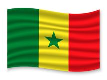 3D Waving Flag  . Vector illustration. 3D Waving Flag of Senegal . Template for your design vector illustration