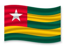 3D Waving Flag  . Vector illustration. 3D Waving Flag of Togo . Template for your design stock illustration