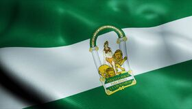 3D Waving Spain Province Flag of Andalusia Closeup View