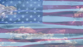 United States American sky flag stock video footage