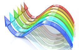 3d wavy arrows of color of rainbow on a white background Stock Image