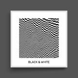 3D wavy background. Dynamic effect. Black and white design. Pattern with optical illusion. Cover design template. Vector Illustration Stock Photo