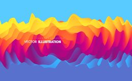 3D wavy background with ripple effect. Abstract vector illustration. Design template. Modern pattern. 3D wavy background with ripple effect. Abstract vector stock illustration