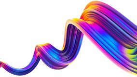 3D wavy bright abstract design element in holographic neon trendy colors. Twisted shape ribbon brush stroke with spiral motion. Design element for Christmas vector illustration