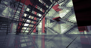 3d way. Modern industrial interior, stairs, clean space in indus Stock Photos