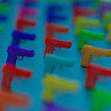 3d weapon framework low poly illustration. Close-up Low-poly pistol illustration, blurred colorful background vector illustration