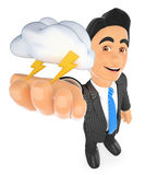 3D Weather man with cloud and lightning. Thunderstorm day Royalty Free Stock Photography