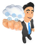 3D Weather man with cloud and snow. Snowing day Stock Image