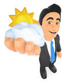 3D Weather man with sun and cloud. Cloudy day. 3d business people illustration. Weather man with sun and cloud. Cloudy day. White background Royalty Free Stock Photography
