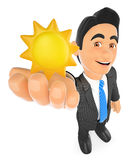 3D Weather man with a sun. Sunny day. 3d business people illustration. Weather man with a sun. Sunny day. White background Stock Photos