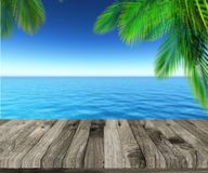 3D weathered wooden deck looking out to ocean Stock Photo