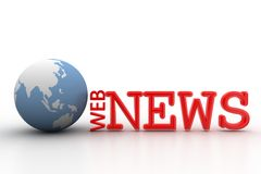 3d web news illustration with globe Stock Images