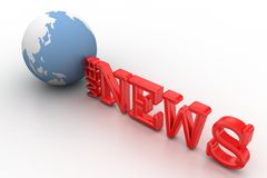 3d web news illustration with globe Stock Photos