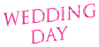 3D Wedding Day Word Concept Stock Photos