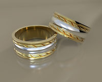 3d  wedding rings Royalty Free Stock Images