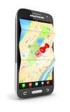 3d wegenkaart in smartphone Stock Afbeelding