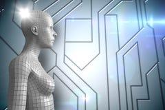 3D weiße Frau AI gegen blaues technisches Muster und Aufflackern Lizenzfreie Stockfotos