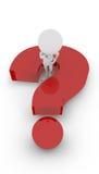 3D weiße Völker - denkendes Fragezeichen stock abbildung