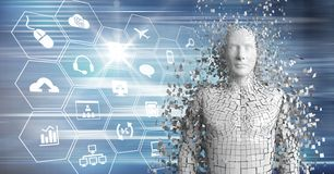 3D weißer Mann AI gegen blaue Schnittstelle Stockfotografie