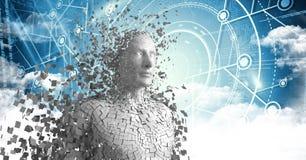 3D weißer Mann AI gegen blaue Schnittstelle mit Wolken Lizenzfreie Stockfotos