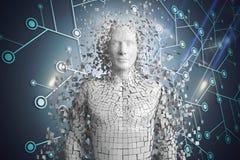 3D weißer Mann AI gegen blaues Netz mit Aufflackern Lizenzfreie Stockfotos