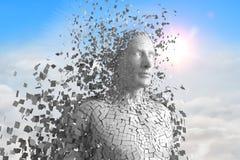 3D weißer Mann AI gegen Himmel und Wolken Stockbild