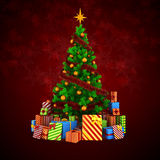 3d Weihnachtsbaum mit bunten Verzierungen und Geschenken Stockbilder