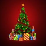 3d Weihnachtsbaum mit bunten Verzierungen und Geschenken Lizenzfreie Stockfotos