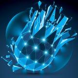 3d wektoru jasnego wireframe błękitny cyfrowy przedmiot łamający w odróżnia się royalty ilustracja