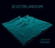 3D wektoru krajobraz kontur Abstrakcjonistyczny cyfrowy krajobraz z cząsteczek gwiazdami na horyzoncie i kropkami Obrazy Royalty Free
