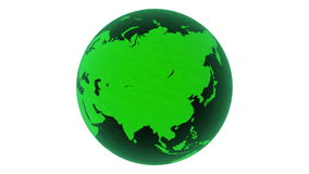 3D, welches die glatte Erdekugel des grünen Glases übertragen auf weißem Hintergrund dreht 4k, loopable lizenzfreie abbildung