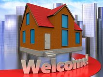 3d welcome sign over city Stock Images