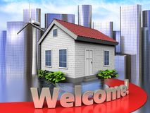 3d welcome sign over city Stock Photography