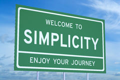 3D Welcome to Simplicity concept. On road billboard Stock Photography