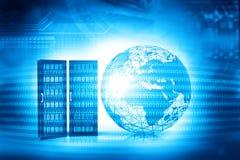3d wereld met servers Stock Foto