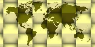 3d wereldkaart met schaduwen stock illustratie