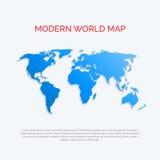 3D wereldkaart. Moderne vlakke stijl. Stock Afbeeldingen