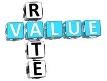 3D Wert Rate Crossword stock abbildung