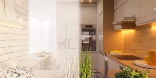 3d wewnętrznego projekta ilustracyjna kuchenna panorama w białym kolorze royalty ilustracja