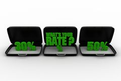3d what's your rate text on briefcase Royalty Free Stock Photography