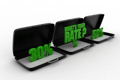 3d what's your rate text on briefcase Royalty Free Stock Images