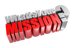 3d What is Your Mission Question Stock Photos