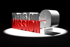 3d What is Your Mission Question Spotlight royalty free stock images